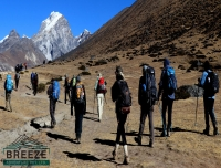 Trekkers heading to Lobuche/ Shore Everest Base Camp Trek