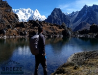 Trekker enjoying the lake and Himalayan view/ Kanchenjunga South Base Camp Trek
