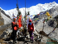 Trekkers Praying at Oktang/ Kanchenjunga South Base Camp Trek