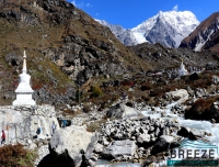 Trekkers walking on trail, Langtang Valley Trek