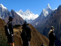 Trekkers Enjoying Panoramic view of Khumbu Himalaya/ Everest Panorama Trek