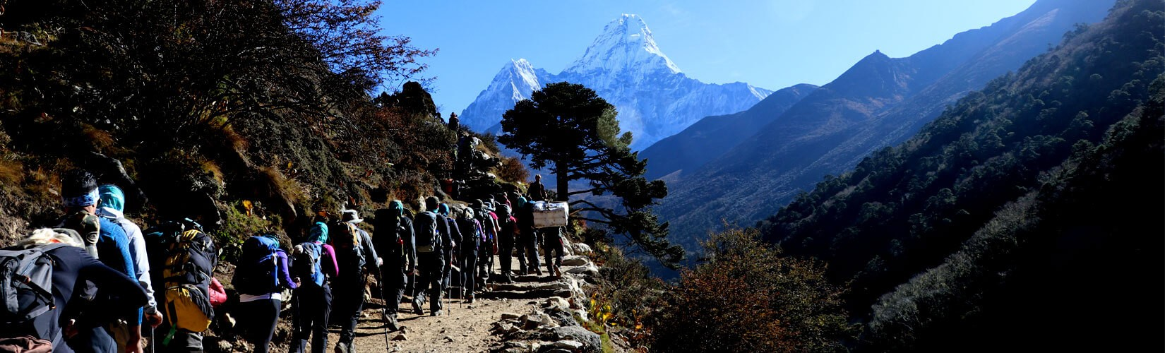 Group Walking Through Pangboche Stupa