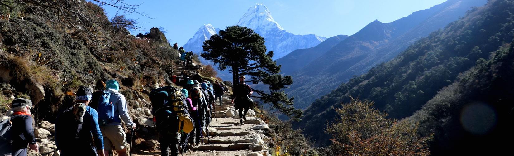 Trekkers walking to Pangboche