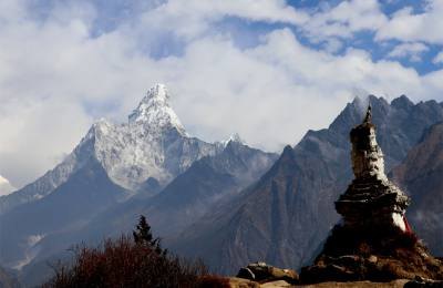 Mt.Amadablam and an Old Stupa