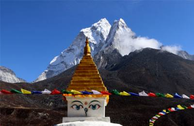 View of Stupa with Amadablam from Dingboche