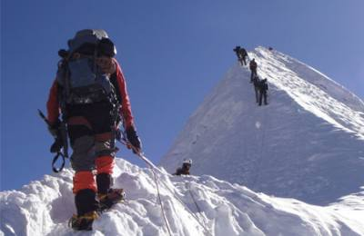 Climbers heading up to Summit