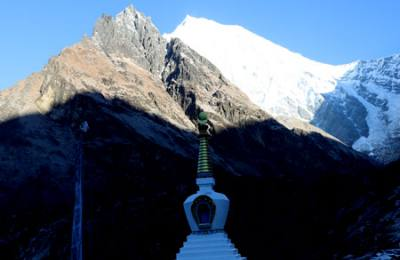 stupa and mountain